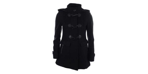 Dámsky čierny kabát s veľkými gombíkmi Halifax