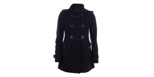Dámsky tmavo modrý kabát s veľkými gombíkmi Halifax
