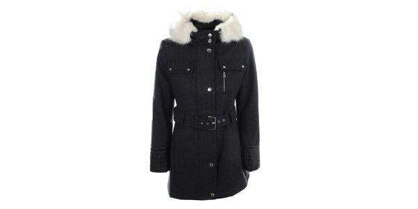 Dámsky tmavo šedý kabát s kapucňou a bielym kožúškom Halifax