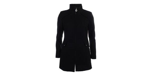 Dámsky čierny jednoduchý kabát Halifax