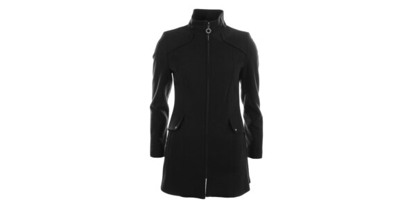 Dámsky tmavý jednoduchý kabát Halifax