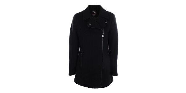 Dámsky čierny kabát s asymetrickým zapínaním na zips Halifax