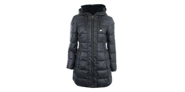 Dámsky tmavo šedý prešívaný kabát na zips Halifax