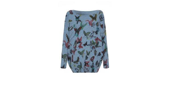 Dámsky modrý sveter s motýlikmi Iska