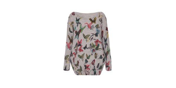 Dámsky šedý sveter s motýlikmi Iska