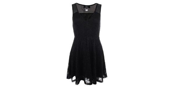 Dámske čierne čipkové šaty Iska
