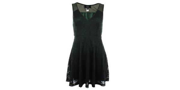 Dámske tmavo zelené čipkové šaty Iska