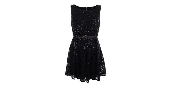 Dámske čierne čipkové šaty s flitrami Iska