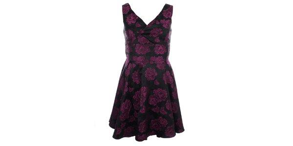 Dámske šaty s fialovými kvetmi Iska