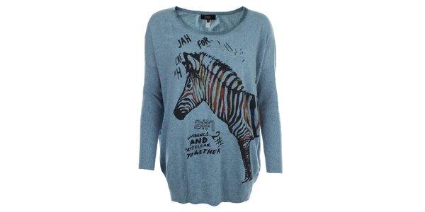 Dámsky modrý oversized sveter so zebrou Iska