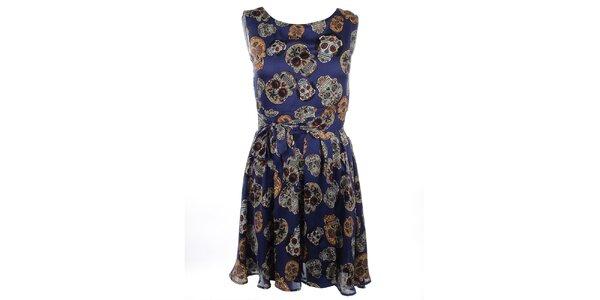 Dámske modré šaty s potlačou Candy Skull Iska