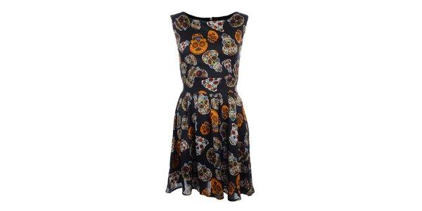 Dámske čierne šaty s farebnými lebkami Iska