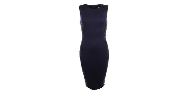 Dámske tmavo modré šaty s čiernou čipkou Iska