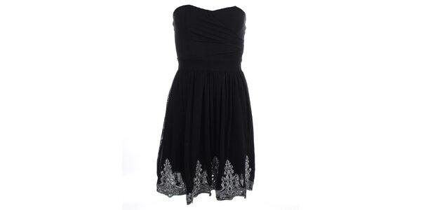Dámske čierne šaty bez rukávov s výšivkou Iska