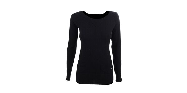 Dámsky čierny sveter s vreckami Timeout