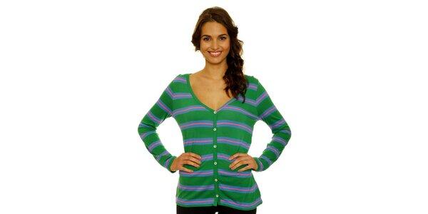 Dámsky zelený zapínací svetrík s modro-ružovými pruhmi Nice Things