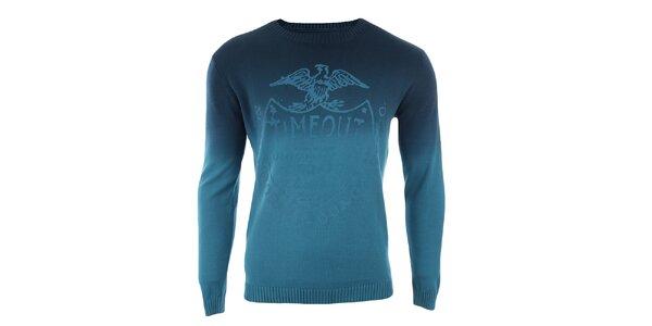 Pánsky modrý sveter s potlačou Timeout