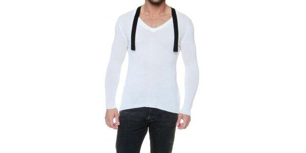 Pánsky krémovo biely sveter s kašmírom a čiernymi lemami Pierre Balmain