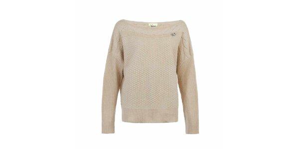 Dámsky krémový sveter s plastickým vzorom Yumi