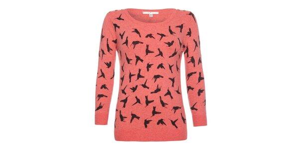 Dámsky korálový svetrík s vtáčikmi Uttam Boutique