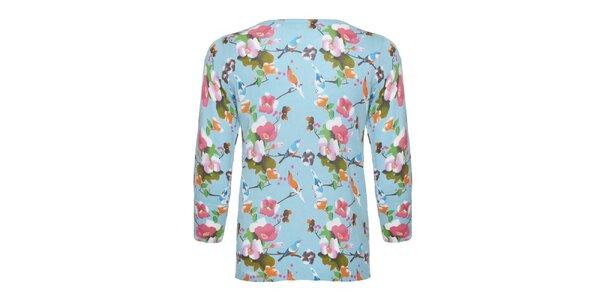 Dámsky modrý svetrík s kvetinami Uttam Boutique