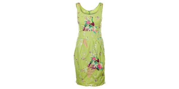 Dámske svetlo zelené šaty Uttam Boutique s potlačou