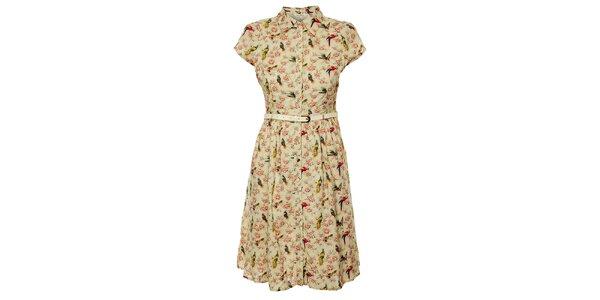 Dámske krémové šaty Uttam Boutique s kvetovanou potlačou
