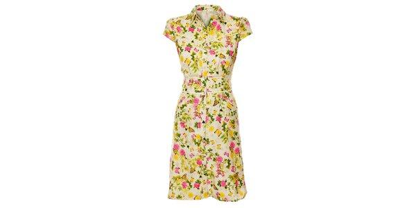 Dámske krémové šaty Uttam Boutique s potlačou