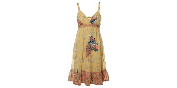 Dámske béžové šaty Uttam Boutique s potlačou