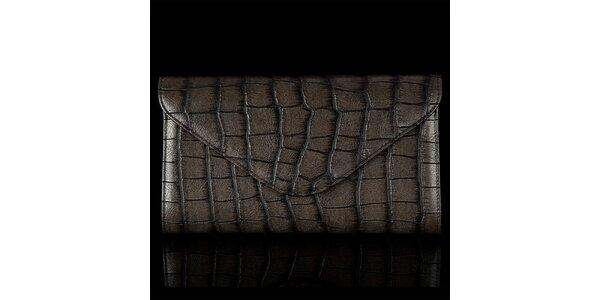 Dámska vzorovaná hnedá lesklá listová kabelka Felice