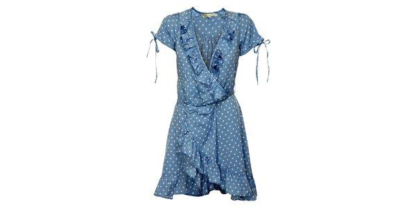Dámske svetlo modré bodkované šaty Uttam Boutique