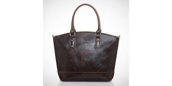 Dámska tmavo hnedá kabelka s jemným žíhaním Felice