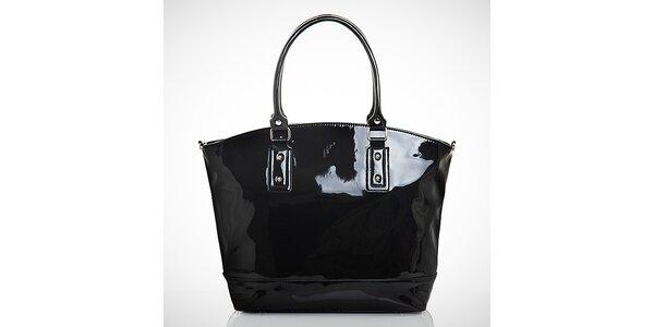 Dámska čierna lakovaná kabelka z eko kože Felice