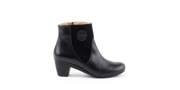Dámske čierne členkové topánky so semišovými prvkami Liberitae