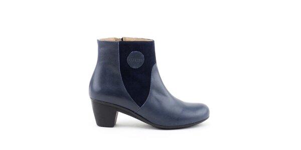 Dámske modré členkové topánky so semišovými prvkami Liberitae