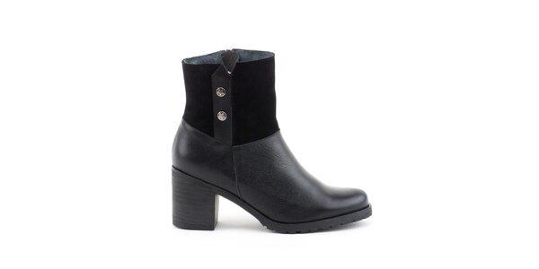 Dámske čierne topánky so širokým opätkom Liberitae