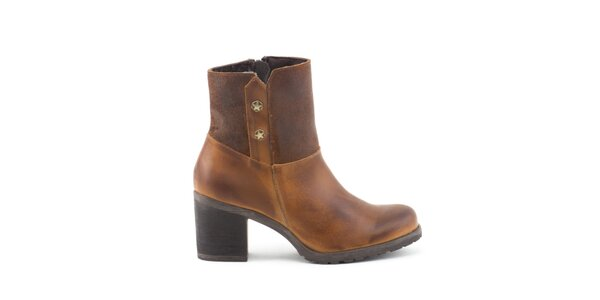 Dámske svetlo hnedé topánky so širokým opätkom Liberitae