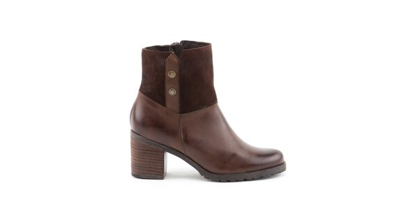 Dámske hnedé topánky so širokým opätkom Liberitae