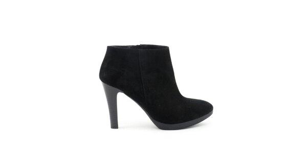 Dámske čierne členkové topánky na vysokom opätku Liberitae