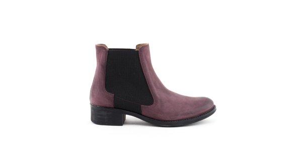 Dámske fialové členkové topánky s elastickou vsadkou Liberitae