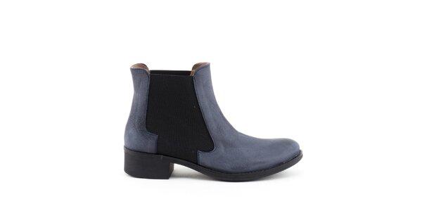 Dámske modré členkové topánky s elastickou vsadkou Liberitae