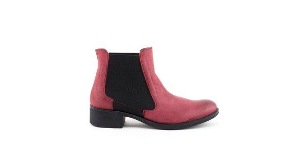 Dámske červené členkové topánky s elastickou vsadkou Liberitae