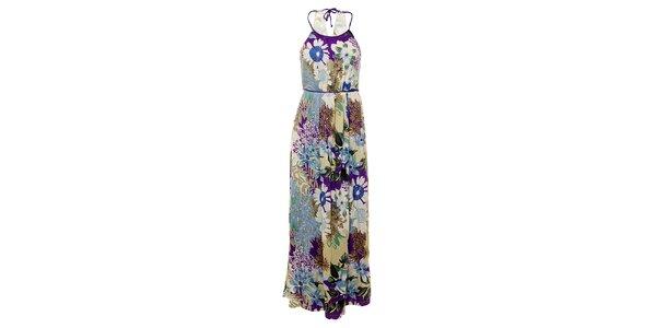 Dámske dlhé modro-fialové šaty Uttam Boutique s kvetovanou potlačou