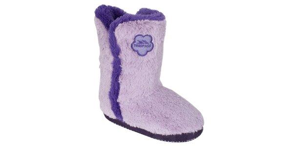 Dámske chlpaté domáce topánky Trespass - fialové