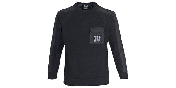 Pánsky čierny sveter s vreckom Trespass