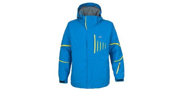 Pánska modrá lyžiarska bunda so žltými prvkami Trespass