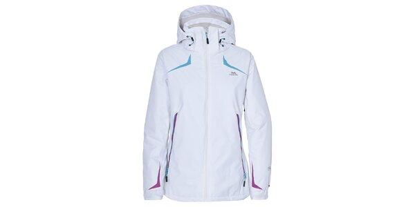 Dámska biela lyžiarska bunda s farebnými prvkami Trespass