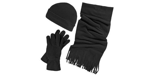 Dámsky zimný fleecový set v čiernej farbe - čiapky, šálu, rukavice Trespass