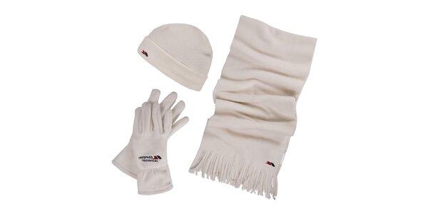 Dámsky zimný fleecový set v krémovej farbe - čiapka, šál, rukavice Trespass