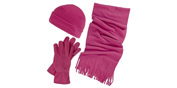 Dámsky zimný fleecový set vo fuchsiovej farbe - čiapka, šál, rukavice Trespass